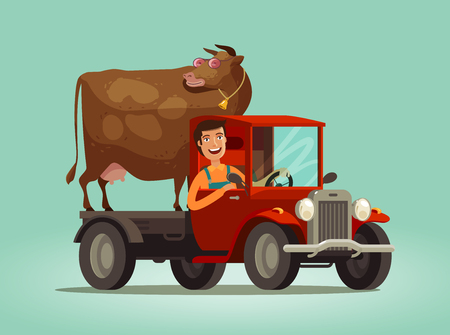 Happy farmer and cow rides on truck. Farming, farm, agriculture concept. Cartoon vector illustration