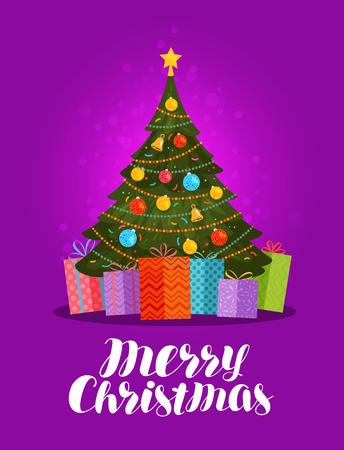 Buon Natale, biglietto di auguri. Albero di Natale decorato e regali. Illustrazione vettoriale