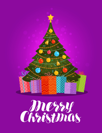 postcard box: Merry Christmas, greeting card. Decorated xmas tree and gifts. Vector illustration Illustration