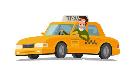 Concepto de taxista. Coche, transporte, transporte, símbolo de transferencia o icono. Ilustración vectorial