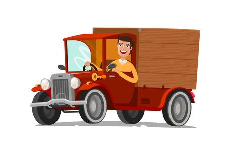 Gelukkige bestuurder berijdt op retro vrachtwagen. Levering, landbouw, concept. Cartoon vectorillustratie. Vector Illustratie