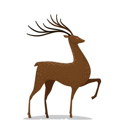 Deer with horns. Decorative animal. Vector illustration