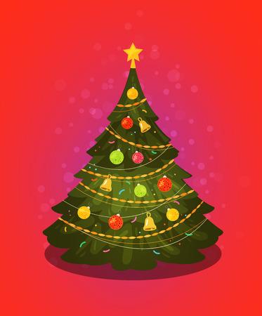 Albero di Natale. Decorazioni natalizie. Illustrazione vettoriale