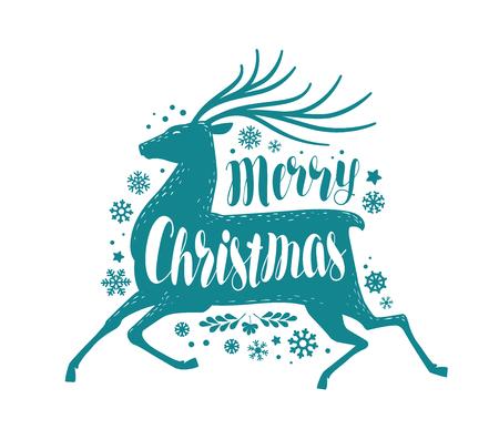 Buon Natale, biglietto di auguri o banner. Natale, concetto di vacanza. Illustrazione vettoriale