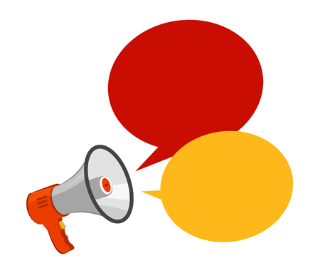 Loudspeaker, megaphone. Advertising, announcement, attention concept. Vector illustration Ilustração