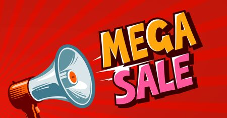 Mega sale, closeout, promo, discounts banner. Shopping concept. Vector illustration