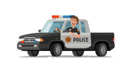 Heureux shérif monte en voiture. Camionnette de police. Illustration de vecteur de dessin animé