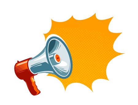 Loudspeaker, megaphone, bullhorn icon or symbol. Advertising, promotion concept. Vector illustration