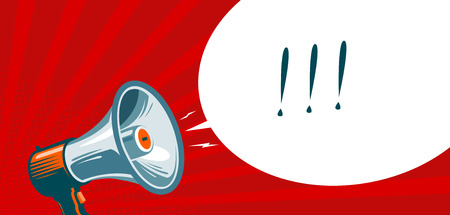 Altavoz, megáfono, megáfono. Publicidad, banner de promoción. Ilustración vectorial