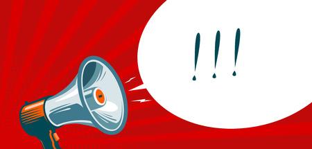 Loudspeaker, megaphone, bullhorn. Advertising, promotion banner. Vector illustration Illustration