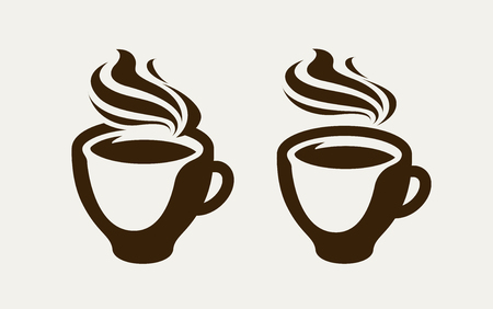 Cafe, coffeehouse logo or symbol. Coffee cup, espresso, tea icon. Vector illustration