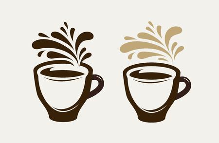 Cafe, coffeehouse logo or emblem. Cup of coffee, espresso, tea, hot drink symbol. Vector illustration