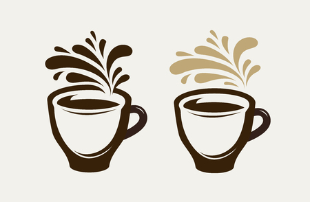 Cafe, coffeehouse logo or emblem. Cup of coffee, espresso, tea, hot drink symbol. Vector illustration