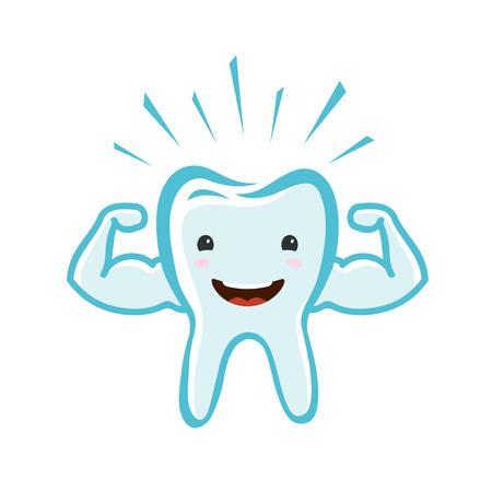 Happy healthy tooth. Dental clinic, dentistry concept. Cartoon vector illustration
