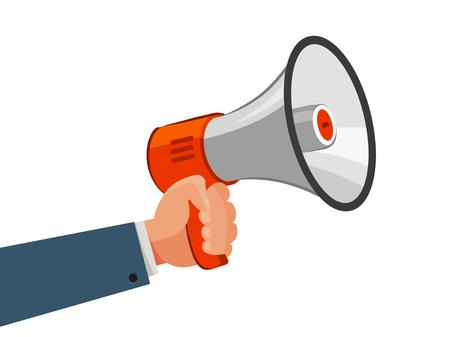 Haut-parleur ou mégaphone à la main. Publicité, marketing, annoncer, concept de promotion. Illustration de vecteur de dessin animé