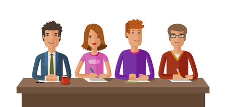 Group of judges or students. Exam, education, study concept. Vector, flat illustration