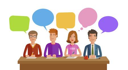 チームワーク、ビジネス、教育、世論、会議の概念。ベクトル、フラットイラストレーション