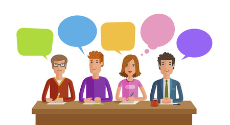 Teamwork, Business, education, public opinion, conference concept. Vector, flat illustration