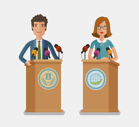 Orator speaking from tribune, podium. Press conference, interview concept. Vector flat illustration
