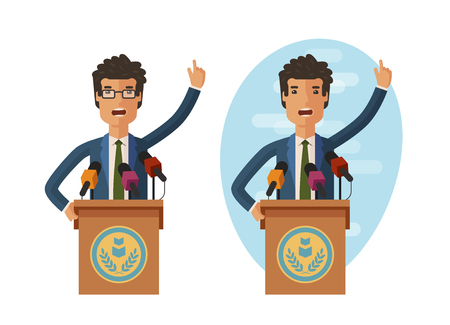 politicians: Public statement. Orator speak from tribune. Vector flat illustration