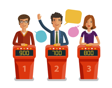 Quiz show, game concept. Players answering questions standing at stand with buttons. Vector flat illustration