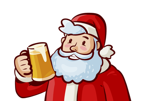 Happy Santa Claus with mug of fresh beer in hand. Christmas, xmas concept. Vector cartoon illustration