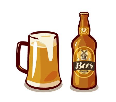 Mug of craft beer with foam, bottle ale or lager. Bar, pub, alcoholic beverages, drinks concept. Vector illustration