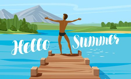 Vacation, travel, journey concept. Hello summer lettering. Vector illustration