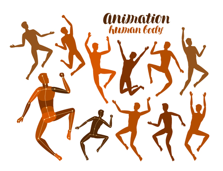 Animation of human body. Anatomy, people in motion concept. Silhouettes, vector illustration
