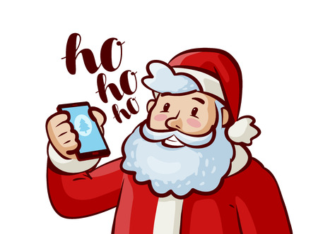 Happy Santa Claus with phone in hand. Christmas, xmas concept. Cartoon vector illustration Stock fotó - 90587567