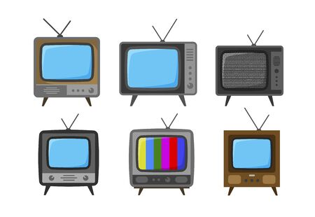 TV, television set of icons. Broadcast, video concept. Vector illustration