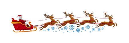 Santa Claus rides in sleigh with reindeer. Christmas, xmas, new year concept. Cartoon vector illustration