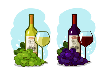 Bottle of red or white wine, glass and grapes. Winery concept. Cartoon vector illustration