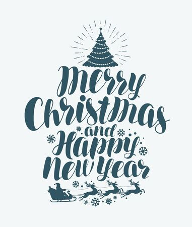 Merry Christmas and Happy New Year, handwritten lettering. Xmas greeting card Calligraphy vector