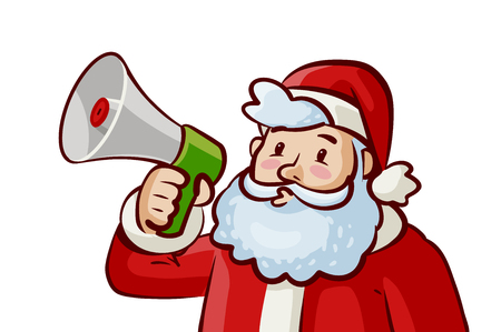 Santa Claus with loudspeaker in hand. Christmas, xmas concept. Cartoon vector illustration Illustration