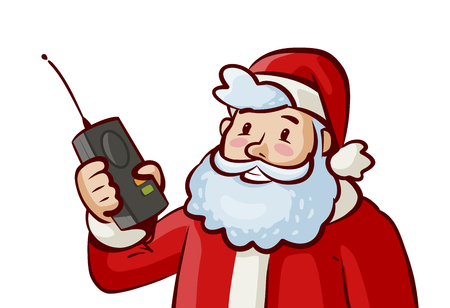Santa Claus holding a radio in cartoon style illustration