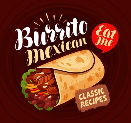 Comida mexicana, pancarta. Burrito, comida kebab comiendo concepto Vector de letras Foto de archivo - 91035684