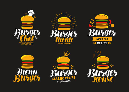 Burger logo or label. Fast food, eating concept. Vector