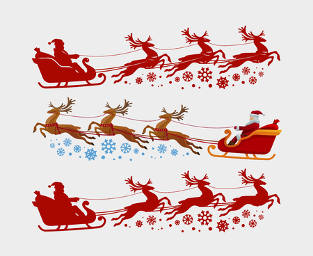 Santa Claus rides in sleigh pulled by reindeer. Christmas, xmas concept. Vector illustration