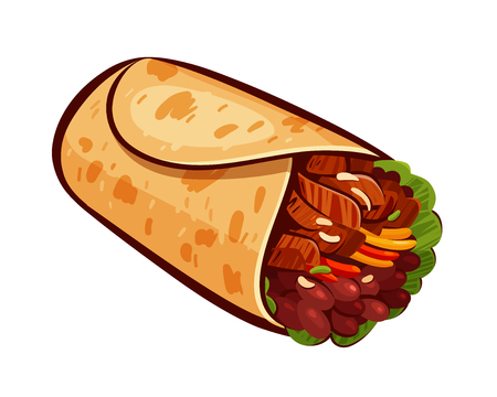 Burrito. Element of restaurant menu or eatery. Mexican food, meal, eating concept. Cartoon vector illustration isolated on white background