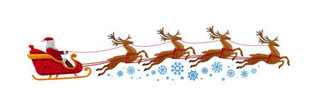 Santa Claus rides in sleigh with reindeer. Christmas, xmas, new year concept. Cartoon vector illustration isolated on white background Illustration