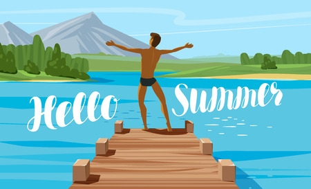 Vacation, travel, journey concept Hello summer lettering Vector