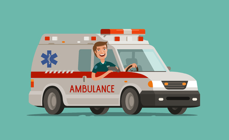 Happy medic goes on car. Ambulance service, emergency care, hospital concept. Medicine vector