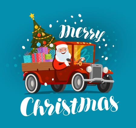 Biglietto di auguri di Natale. Santa felice cavalca in auto d'epoca carica di doni. Illustrazione vettoriale di Natale Archivio Fotografico - 91127625