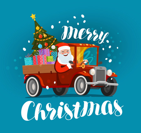 Merry Christmas greeting card. Happy Santa rides in vintage car loaded with gifts. Christmas vector illustration