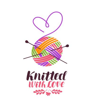 Stricken, stricken, Logo oder Etikett. Gestrickt mit Liebe, Schriftzug. Vektorillustration lokalisiert auf weißem Hintergrund