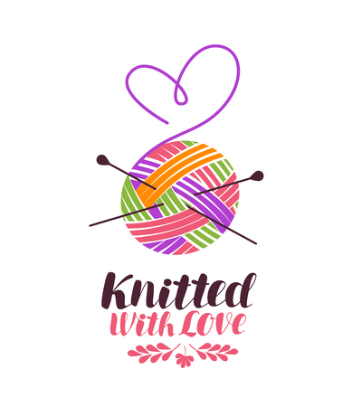 Knit, knitting logo or label. Knitted with love, lettering. Vector illustration isolated on white background