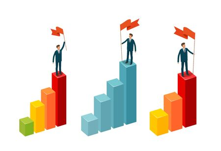Businessman with flag stands on top. Business concept. Infographics vector illustration isolated on white background Illustration