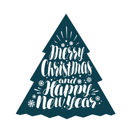 Merry Christmas and Happy New Year. Handwritten lettering, calligraphy vector illustration Illustration