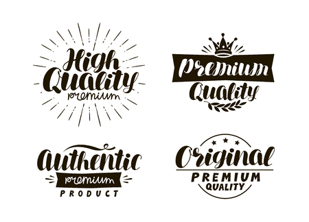 Description of goods. Typography design set icons or symbols. Lettering vector illustration.